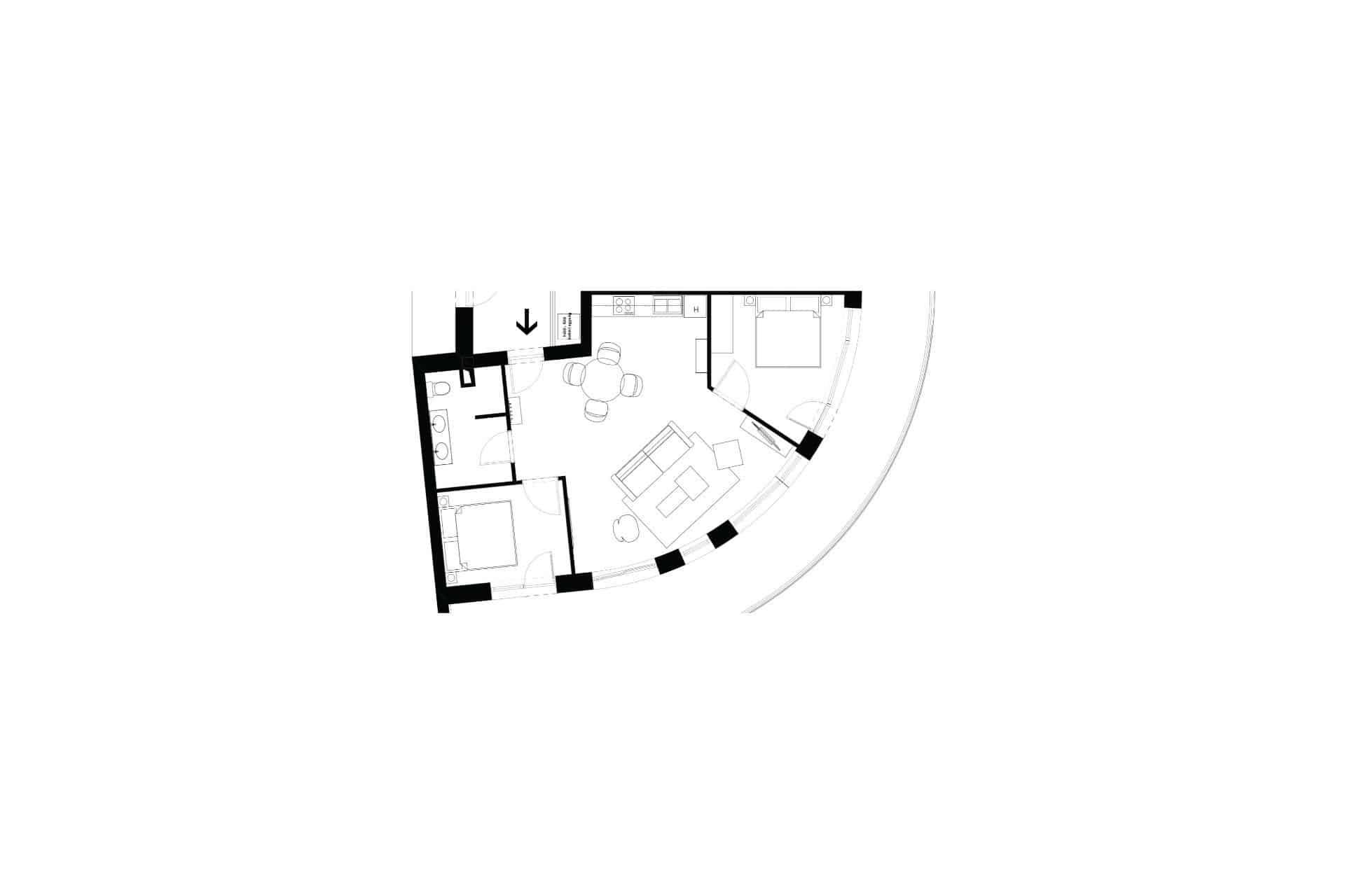 Vízparti balatoni panorámás Apartmanok Keszthely - No.30 apartman alaprajza.